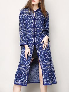 Shop Coats - Blue Long Sleeve Jacquard Tribal H-line Coat online. Discover unique designers fashion at StyleWe.com.