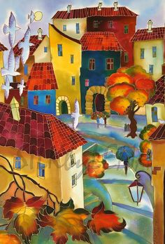 Cityscape Silk Painting - by Yelena Sidorova