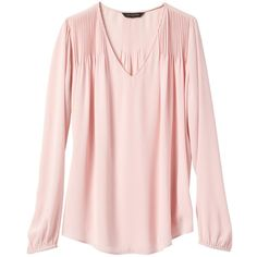 Banana Republic Women Pintuck Shoulder Blouse (2.630 RUB) ❤ liked on Polyvore featuring tops, blouses, pintuck top, pintucked blouse, pink top, v neck tops and v-neck tops