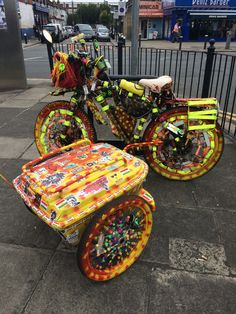 I dunno who fancified this bike or why, but I like its spunk London Photos, Outdoor Furniture, Outdoor Decor, Ottoman, Bike, Home Decor, Bicycle, Decoration Home, Room Decor
