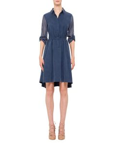 Mesh-Inset Drawstring-Waist Shirtdress, Denim by Akris punto at Neiman Marcus.