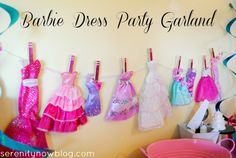 Make a Party Garland out of Barbie Dresses, from Serenity Now have girls bring their own barbie in fav outfit for a fashion show, make a lounge for the barbies, print barbie coloring pages