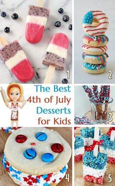 Colourful desserts just perfect for a 4th of July party - including some healthy kid friendly recipes and some not so healthy ones!