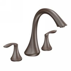Moen Deck Mounted Roman Tub Faucet Trim from the Eva Collection (Less Valve Oil Rubbed Bronze Faucet Roman Tub Double Handle Bronze Bathroom, Bathroom Faucets, Master Bathroom, Vanity Faucets, Bath Fixtures, Bathrooms, Roman Tub Faucets, Faucet Handles, Oil Rubbed Bronze