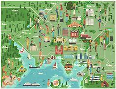 Oslo City survey illustrations, norway  via creativeroots.org