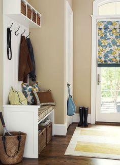 """Love this """"mud room"""" - every home needs a place to shed shoes, jackets, etc!"""