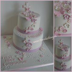 Flower themed #communion #cake   www.itsacakething.ca (christening party decorations flower)