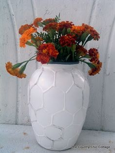 Hive Vase -- West Elm Knock Off ~ * THE COUNTRY CHIC COTTAGE (DIY, Home Decor, Crafts, Farmhouse) Use the products she used to make a texture on anything before painting it.