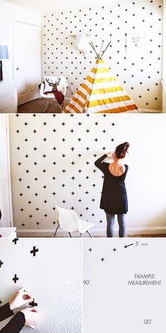 10 Wonderful Washi Tape Wall Decor Ideas That Look Amazing! – bailey griggs 10 Wonderful Washi Tape Wall Decor Ideas That Look Amazing! Washi Tape Wall Decor Ideas – Crosses Washi Tape Wall Decor by Everything Emily Diy Wanddekorationen, Fun Diy, Easy Diy, Diy Crafts, Tape Crafts, Simple Diy, Kids Bedroom, Bedroom Decor, Bedroom Wall