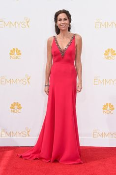 Pin for Later: There's a Sneaky Reason the Emmys Had Fewer Jewels Than You'd Expect Minnie Driver in Marchesa Minnie Driver drew our eyes to all the right places with her plunging crystal-studded neckline.