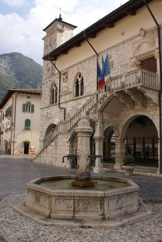 Main square of Venzone, Friuli Venezia Giulia, Italy. In 1976, the town was completely destroyed by an earthquake of 6.4 Richter degrees.