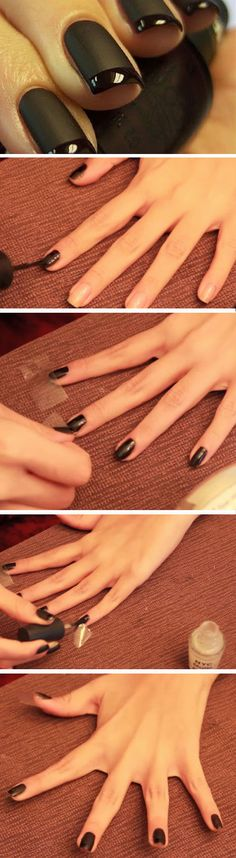 Black Nails with Glossy Tip | Easy DIY Matte Nails Design Ideas for 2017