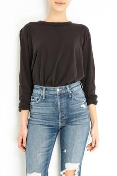 Cotton Color: Almost black Rolled hem and sleeve Model is and wears a size Rolled Hem, Crop Tee, Ladies Boutique, Mom Jeans, Tees, Unique, Model, Sleeves, How To Wear