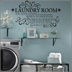 Laundry Room Know When To Fold Em  Bathrooms and Laundry Rooms Christian Wall Decals