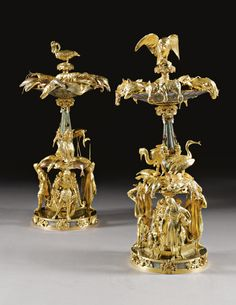 A pair of two-tone gilt-and silvered-bronze hardstone centrepieces created under the direction of Aimé Chenevard (1794-1838) and executed by Jean-Jacques Feuchère (1807-1852), Jean-August Barre (1811-1896), and Pierre-Jules Cavelier(1814-1894); and others, monture, casting and ciselure by Guillaume Denière Louis Philippe, circa 1839 Art Nouveau, Bronze, Centre Pieces, Old Antiques, Art Object, Decorative Objects, Auction, Pairs, Metal