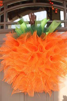 mesh wreaths | So, here's my version of the Mesh Pumpkin Wreath!