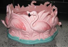 Vintage 1985 Vandor Flamingo Bowl Ceramic Pottery Whimsical Wonder rubylane.com