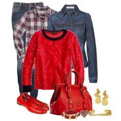 С чем носить красные балетки: синие джинсы и красный свитер