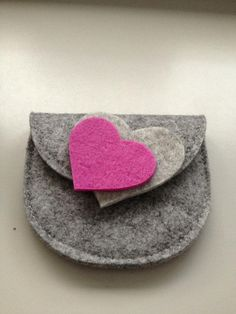 Grey clutch with pink and light grey hearts