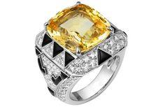 Cartier diamond, onyx and yellow sapphire ring
