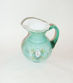Fenton 75th Anniversary Hand Painted Pitcher  by AuntPhebasVintage, $68.00