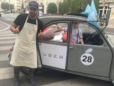 Merci #Uber d'être venu chez Radioline ! On va se régaler grâce à la #fabriquegivree ! #UberIceCream #2cv