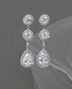 Crystal Bridal Earrings Wedding Long By Crystalavenues 46 00