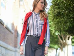 Navy Culottes Chevron Print Shirt Red Crewneck Sweater Tied Over ShouldersThe Classy Cubicle