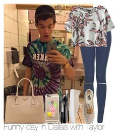 """Funny day in Dallas with Taylor"" by irish26-1 ❤ liked on Polyvore featuring Topshop, Chicnova Fashion, Vans, Prada, Casetify and Lancôme"