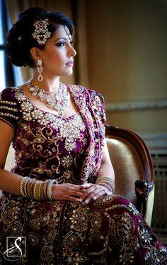 Purple lehnga with bling Indian Bridal Wear, Asian Bridal, Indian Dresses, Indian Outfits, Indian Attire, Purple Lehnga, Desi Wedding, Wedding Ideas, Purple Wedding