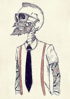 The Gentleman becomes a Hipster by Mike Koubou, an illustrator and graphic designer from Germany but currently working in Athens. He is focused on logos and mascot, character design, caricature and abstract illustration Street Art, Hipster Art, Tumblr Hipster, Hipster Poster, Hipster Drawings, Hipster Ideas, Hipster Tattoo, Skull Drawings, Hipster Design