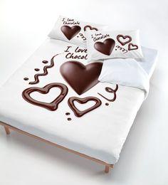 Copri Piumino Con Stampa Sul Sacco E Federe Cuore Di Cioccolato - Matrimoniale