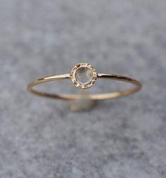 Kamień księżycowy delikatny pierścionek złoty - arpelc - Pierścionki złote