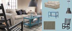 EKTORP 3-pers. sofa med naturfarvet RISANE betræk og mørk turkise IKEA PS 2012 sofaborde med hjul