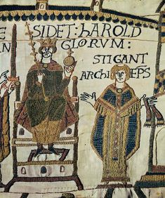 The Coronation of Harold II. Bayeux tapestry. 11th c.