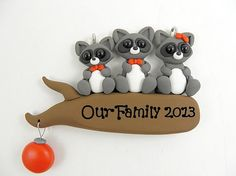 Personalize Raccoon Family of Three Christmas Ornament Polymer Clay