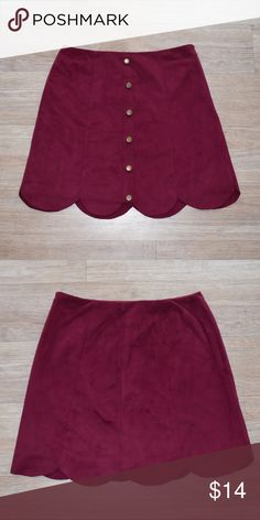 high waisted suede button up skirt || magenta NWOT  Beautiful suedey feeling high waisted button up skirt with scalloped trim bottom. super soft!! ☺️ I would pair it with a crop top and sandals or even a tucked in peasant top! Shell and liner are 100% polyester LC Lauren Conrad Skirts Midi