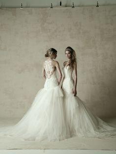 wedding dress ウエディングドレス KENNETH POOL 左)03-8850 右)03-8846 Lace Wedding, Wedding Dresses, Wedding Hairstyles, Boutique, Outfits, Fashion, Bride Dresses, Moda, Bridal Gowns