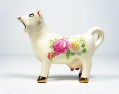 Vintage 1960's Ceramic Cow Creamer