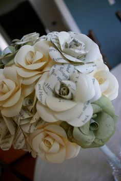 Wedding bouquet made from the pages of a Harry Potter book. Do want.