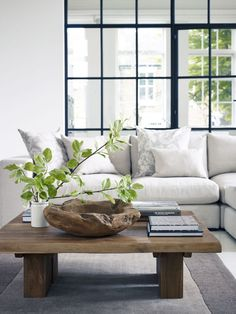 Clean, & organic. Natural living room. | Space  | Grey Corner Sofa, Interior Windows and Coffee Tables