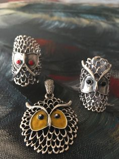 Pendant  and Rings as owls
