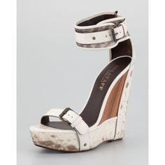 Women's Belstaff Snakeskin Wedge Sandal ($1,495) ❤ liked on Polyvore