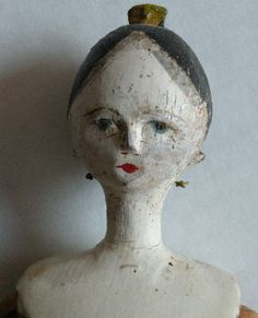 Wooden Grodner Tal Doll w/comb In Hair: Removed Peg Wooden Doll, Wooden Pegs, Wooden Figurines, Clothespin Dolls, Old Dolls, Doll Maker, Hair Painting, Doll Crafts, Antique Toys