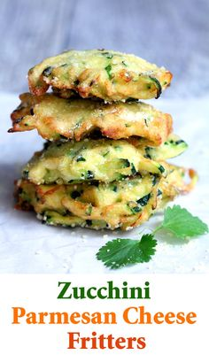 Easy bite size zucchini Parmesan cheese fritters for a healthy and delicious snack any time of the day!