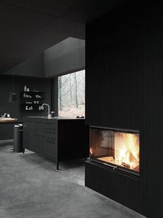 fireplace in black kitchen