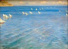 """Peder Severin Krøyer 1890 """"Fishing Boats off Amalfi"""" Time In Germany, Pierre Auguste Renoir, Ludwig, Edgar Degas, Skagen, Claude Monet, Fishing Boats, Lovers Art, Art Museum"""