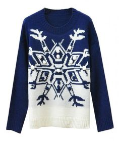 Snowflake Pullover in Blue and White - Knitwear - Clothing