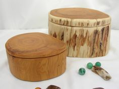 Pacific Yew Tree Trunk Wooden Boxes, Set of 2 Nesting Boxes, wedding gift, small cremation urn, wood jewelry box, family gift, wood art by earnestefforts on Etsy