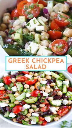 Greek Salad Recipes, Summer Salad Recipes, Healthy Salad Recipes, Summer Salads, Veggie Recipes, Vegetarian Recipes, Dinner Salad Recipes, Greek Salad Ingredients, Chef Salad Recipes